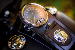 Wedding rings on a motorcycle speedometer. Wedding day Stock Image