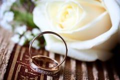 Wedding rings near the flower.  Stock Image