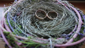Wedding rings. In the nest shooting on the move slider stock video