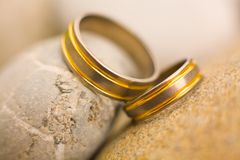 Wedding rings. Nicely arranged on beautiful rocks Royalty Free Stock Photo