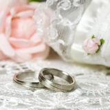 Wedding rings on nostalgic background Stock Image