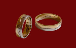 Wedding Rings On Red Stock Images