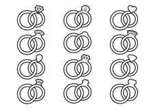 Wedding rings outline icons Stock Photos