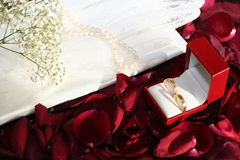 Wedding rings over red roses. Red sunny background with wedding rings over roses petals Royalty Free Stock Photography