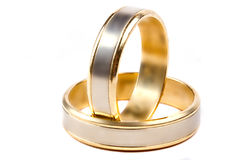 Wedding rings over white Stock Photo