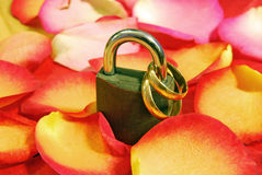 Wedding rings and padlock Stock Photos