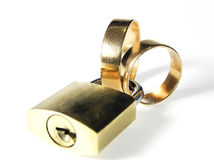 Wedding rings with padlock Royalty Free Stock Photo