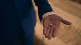 Wedding rings on the palm of the groom, marriage proposal. Ukraine stock video