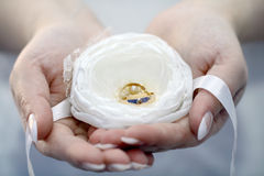 Wedding rings in the palms Royalty Free Stock Photography