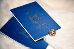 Wedding rings and passports of Israel Royalty Free Stock Images