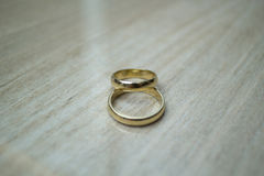 Wedding rings on pattern. With much blur royalty free stock image
