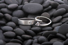 Wedding rings on pebbles. On the shore Royalty Free Stock Photos