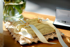 Wedding rings on pillow. Two wedding rings on the pillow Royalty Free Stock Photos