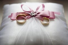 Wedding rings on pillow Royalty Free Stock Image