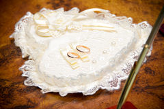 Wedding rings on a pillow Royalty Free Stock Photos