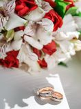 Wedding rings in pink colors royalty free stock photo