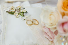 Wedding rings. Are placed on a cushion Stock Photo