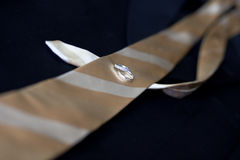 Wedding rings placed on a tie and suit. Royalty Free Stock Photography