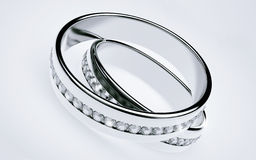 Wedding rings Platinum with diamonds Stock Photography