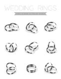 Wedding rings platinum silver flat style compose design. Illustration 3d set and shadow isolated on white background, vector eps10 royalty free illustration