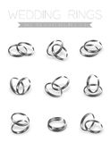 Wedding rings platinum silver half round style compose design. Illustration 3d set and shadow isolated on white background, vector eps10 stock illustration