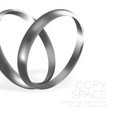 Wedding rings platinum silver with sparkle half round style Royalty Free Stock Photo