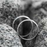 Wedding rings put on the Stone. Stock Photography