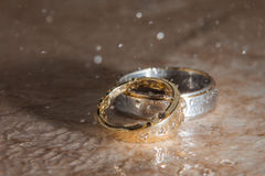 Wedding rings in the rain Royalty Free Stock Photo
