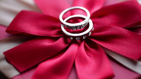 Wedding rings on a red bow.  stock video footage