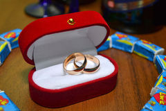 Wedding rings. In a red box Royalty Free Stock Photos