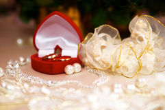 Wedding rings in red box Stock Images