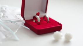 Wedding rings in a red box with earrings and garter. White background stock video footage