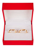 Wedding rings in red box Stock Photography