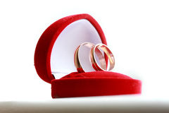 Wedding rings in red box. On the white table royalty free stock images