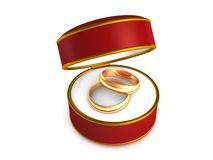 Wedding rings in red gift box Stock Photography