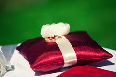 Wedding rings on red pillow. Wedding rings on a red cushion on a background of green grass Royalty Free Stock Images