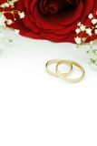 Wedding rings with red rose. Wedding invite with rose and rings Stock Images