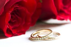Wedding rings and red roses Stock Photos