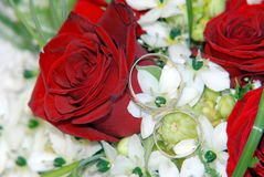 Wedding rings on red roses. Close up photo of Wedding rings on red roses wedding bouquet Stock Photography