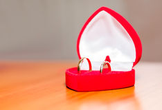 Wedding rings in a red velvet box Royalty Free Stock Photos