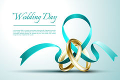 Wedding rings with ribbon invitation card vector template stock illustration