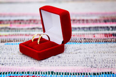 Wedding rings. In red box on a colourful background Stock Photography