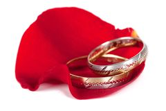 Wedding rings on a rose. Wedding rings on a red petal of a rose Stock Photography
