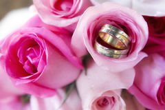 Wedding rings in rose. Detail of a bouquet of roses and wedding rings Royalty Free Stock Photos