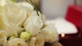 Wedding rings with white rose flowers. Wedding rings with rose flowers stock video
