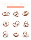 Wedding rings rose gold half round style compose design. Illustration 3d set and shadow isolated on white background, vector eps10 vector illustration