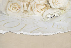 Wedding rings on rose petal Stock Photos