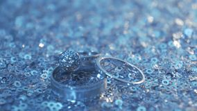 Wedding rings and rose. Wedding jewelry and rings. The Beauty Wedding Ring on a box. Rings of love. Selective focus. Wedding rings and rose. Jewelry and rings stock video footage