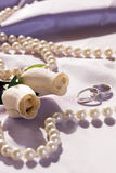 Wedding rings and roses. Wedding still life Royalty Free Stock Images