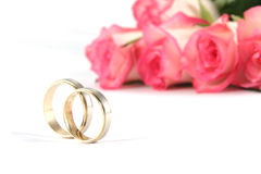 Wedding rings and roses. On white background Royalty Free Stock Image